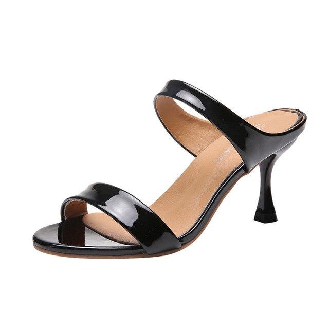 07e8ae3cbb Sexy High Heels Women Slippers Open Toe Thin Heel Fashion Summer Fish Mouth  Slippers Women Shoes