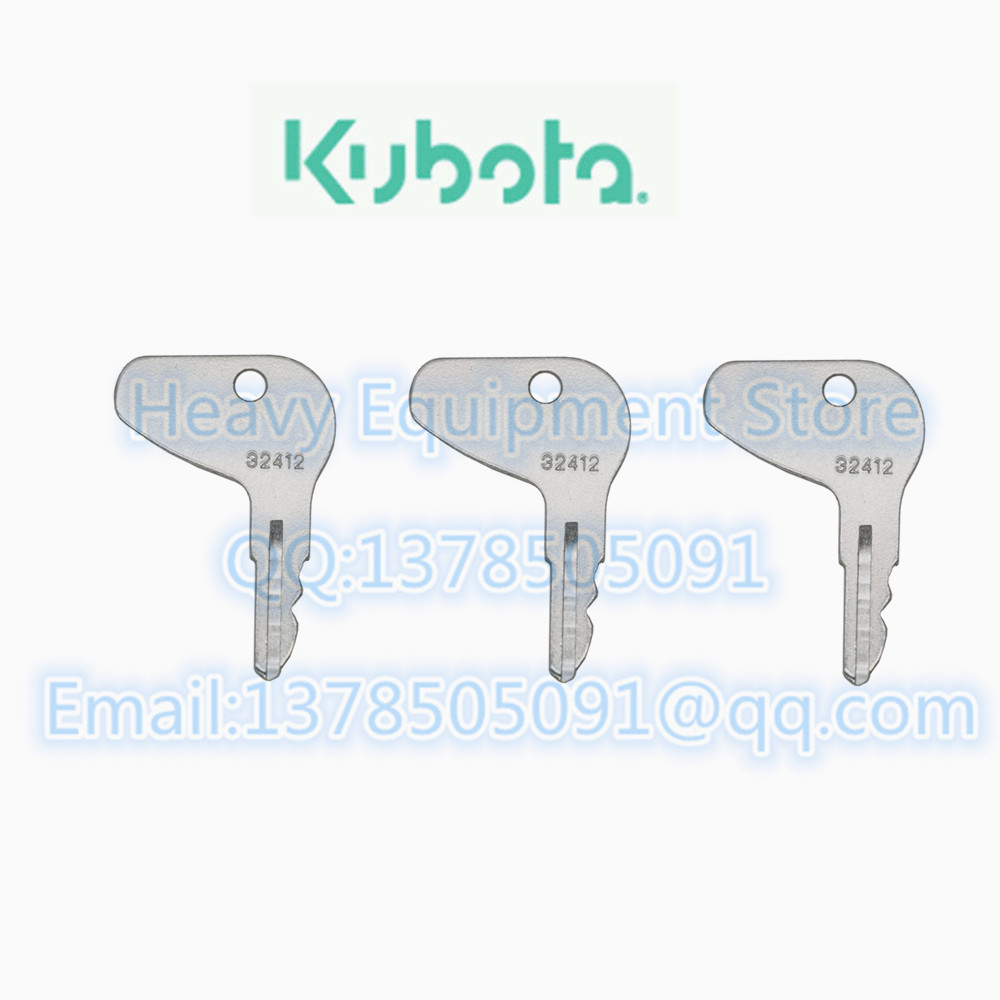 1 Ignition Key 32412 H32412 for Kubota Mahindra Mitsubishi Case Tractors