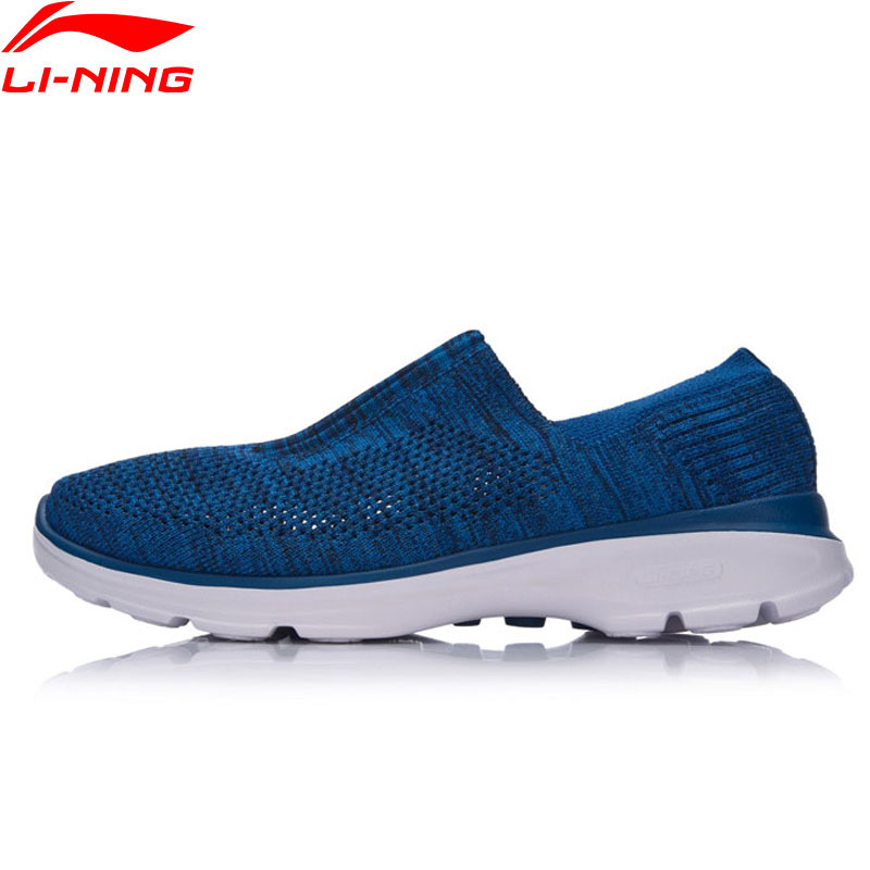 цена Li-Ning Easy Walker The Trend Men Walking Shoes LiNing Sports Shoes Breathable Textile Sneakers Light Cushion AGCM101 YXB061