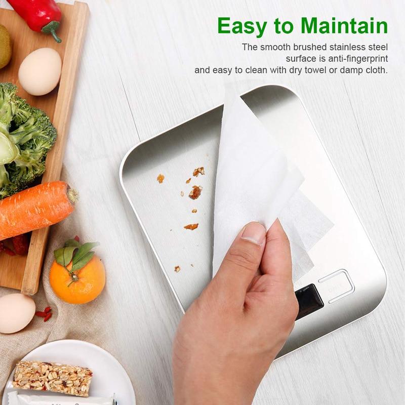 Цифровые кухонные весы с платформой из нержавеющей стали, 10 кг/5 кг, 5000 г, измерительный инструмент для диеты, баланса веса, ЖК-дисплей с подсветкой-3