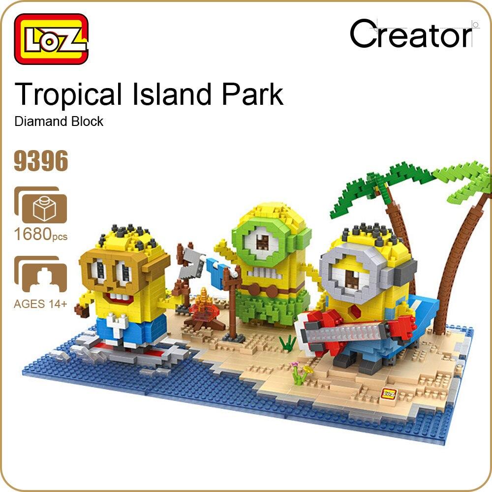 LoZ алмазные блоки тропический остров парк создатель строительные блоки цифры мультфильм игрушки кокосовой пальмы отпуск модель мини кирпи...