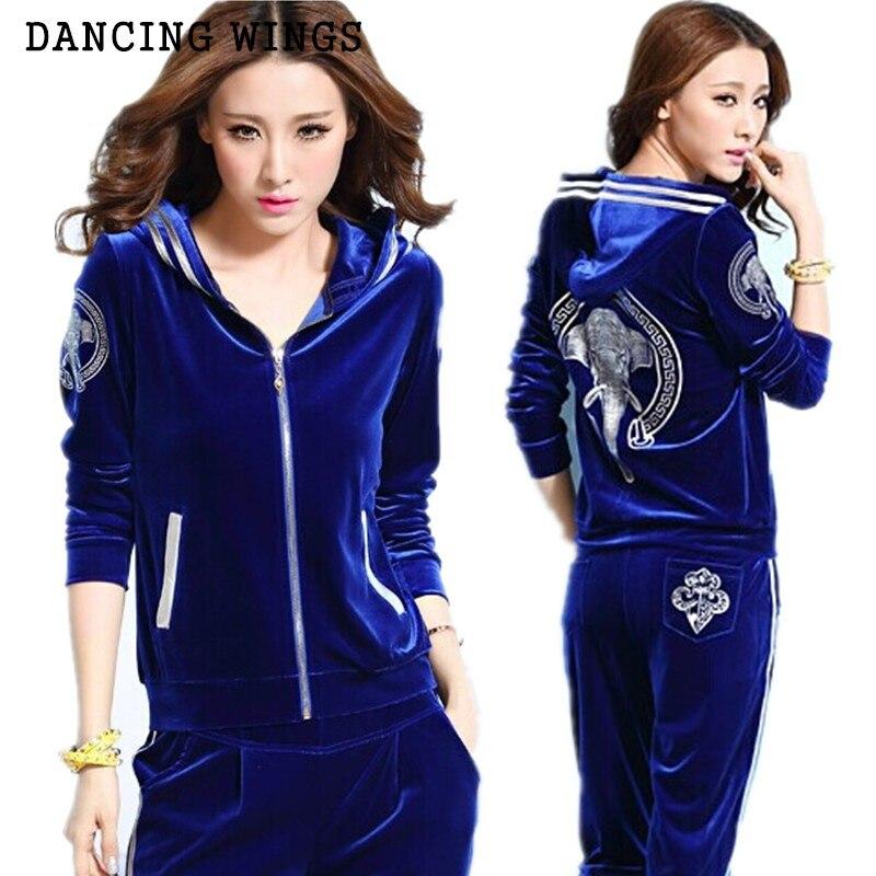 Or Velours Sportsing Costume Femme Printemps Automne Éléphant Imprimer Casual Femmes Hoodies Costume Sweat-Shirts