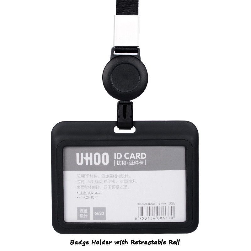 UHOO Badge Holder with Retractable  Badge Reel Ski Pass ID Card Holder Business Work Card Bus Card Holder Name Tag