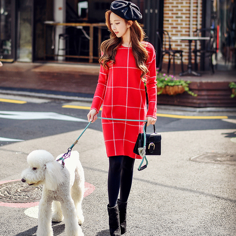 original 2018 brand dresses autumn winter brief fashion long sleeve casual red plaid knitted sweater dress women wholesale