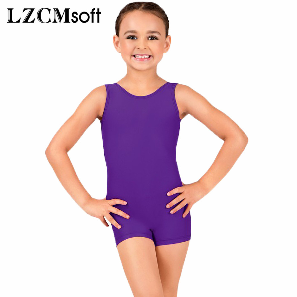 bf972c1d7 VELOTEND Girls Spandex Racerback Tank Shorty Unitard Dancewear for ...