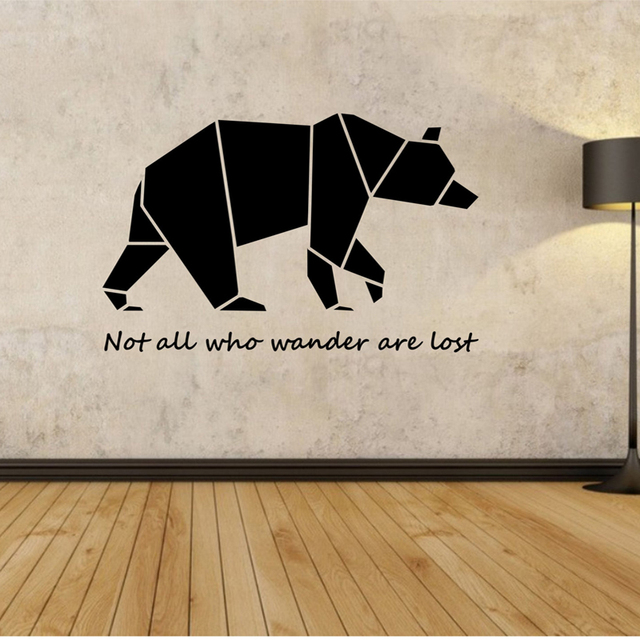Origami Bear Wall Decal Wall Stickers Quotes For Bedroom Living Room Home  Design Decor Murals Geometric Part 73