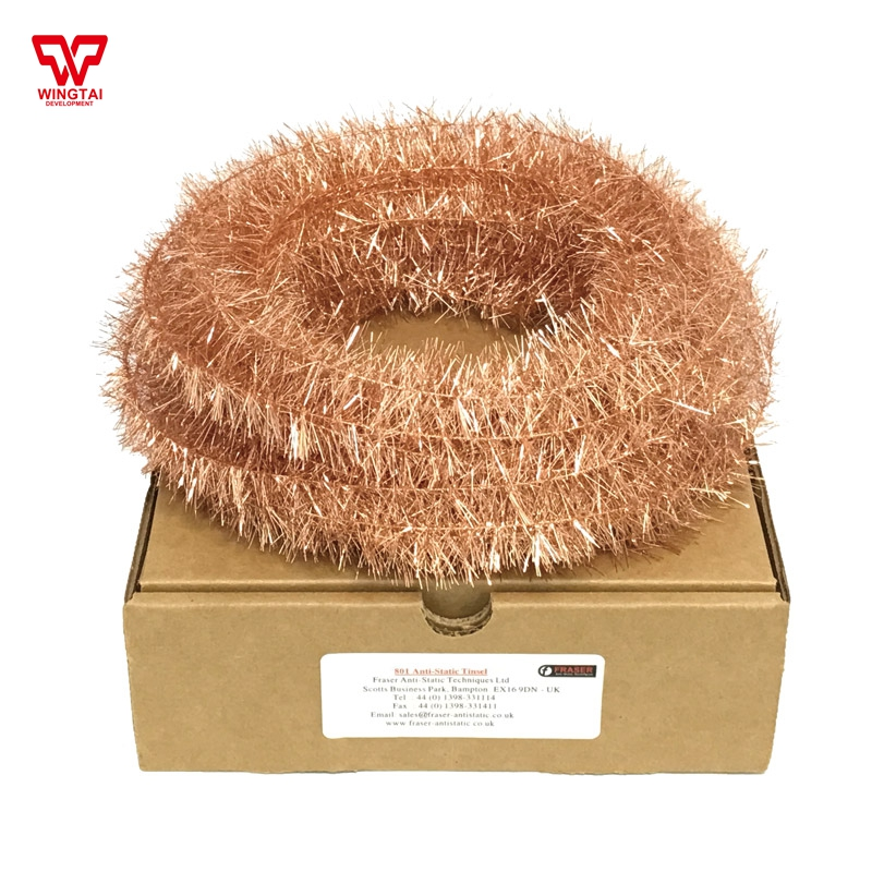 22m/box UK FRASER 801 Copper Anti-Static Tinsel For Neutralising Sheets & Webs original from uk fraser 850 conductive microfibre filament cord anti static string 10m 25m