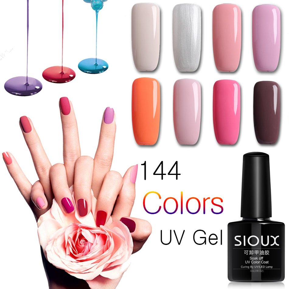 2017 SIOUX 8ml Gel Nail Polish Lack Professional UV Gel Polish Spik Lucky Gel Lacquer Primer Matt Top Base Set # 1-24