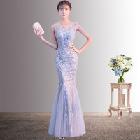 Lace Hollow Out Mermaid Dress Women Fashion Sequins Long Qipao O Neck Cheongsam Asian Bride Wedding Evening Party Dresses Gown