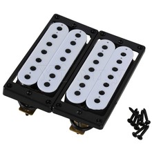 все цены на Yibuy 2 x Metal 7 String Double Coil Humbucker Pickup for Electric Guitar White N/B онлайн
