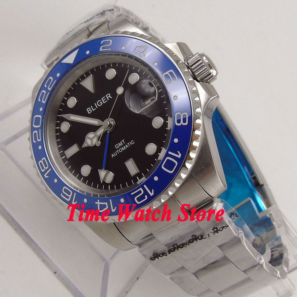 40mm Bliger black dial luminous sapphire glass blue ceramic bezel date window GMT Automatic movement Men's watch 175 цена и фото