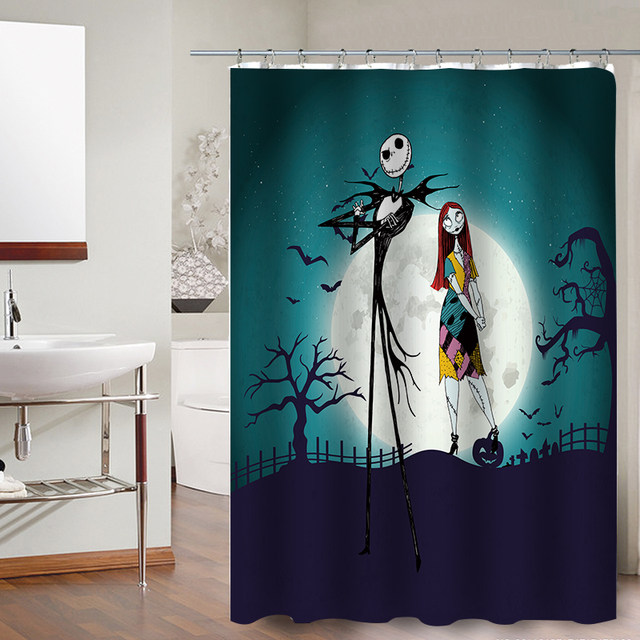 FOKUSENT Halloween Shower Curtain Horror Pumpkin Face Bats Zombie Witch Hat  Polyester Fabric Curtains