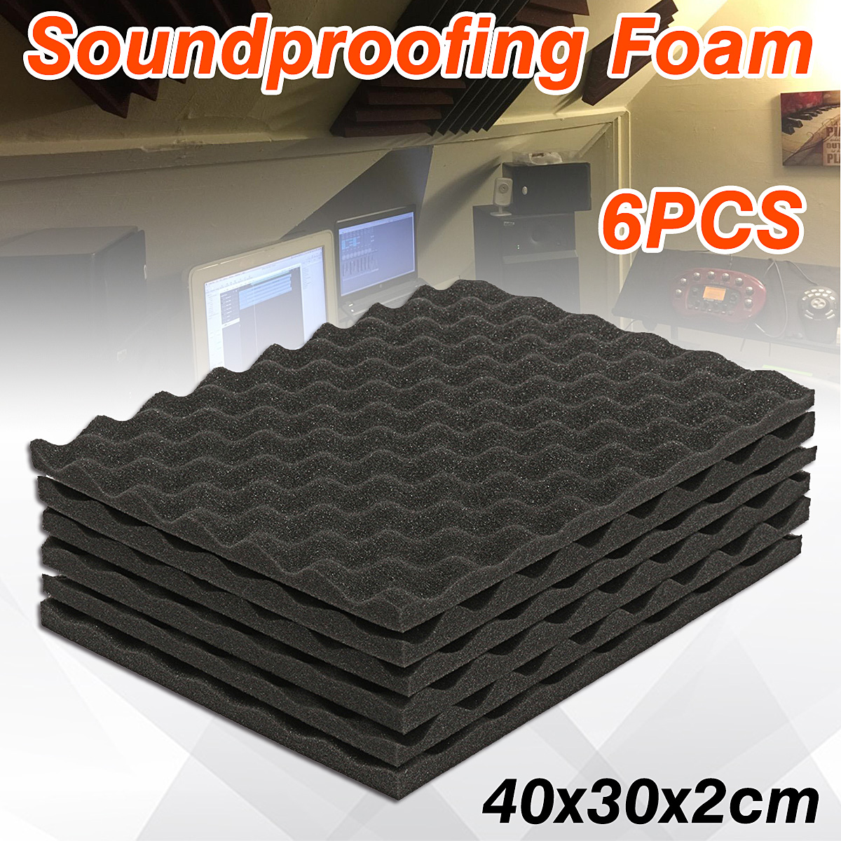 6Pcs 40x30x2cm Acoustic Foam Panels Sound Treatment Convoluted Egg Profile Wedge Acoustic Studio Sponge Soundproofing6Pcs 40x30x2cm Acoustic Foam Panels Sound Treatment Convoluted Egg Profile Wedge Acoustic Studio Sponge Soundproofing