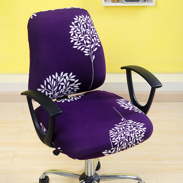 Removable Chair Cover Elastic Office Computer Chair Covers Flower Printed  Stretch Rotating Lift Seat Covering Slipcover