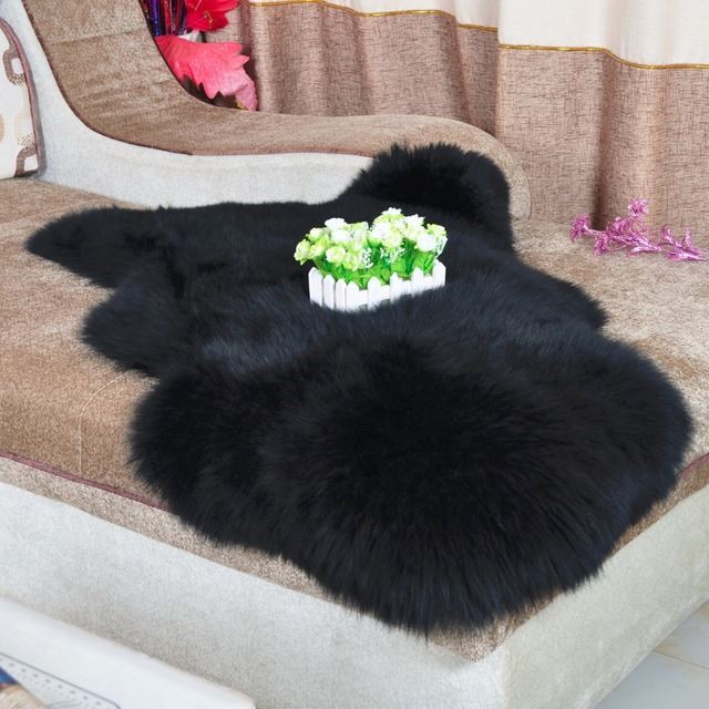 noir australie en peau de mouton tapis peau de mouton tapis rel couverture de fourrure tapis - Tapis Peau De Mouton
