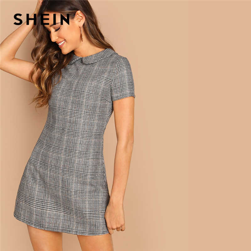 SHEIN Grey 100% Cotton Peter-Pan-Collar Plaid Short Sheath Short Sleeve Flared Dress Autumn Elegant Modern Lady Women Dresses