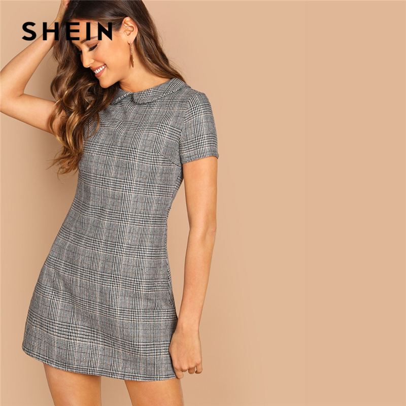 SHEIN Grey 100% Cotton Peter-Pan-Collar Plaid Dress 181019701