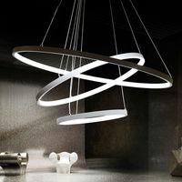 Современные светодиодные подвесные светильники для фойе 3 кольца легкий алюминиевый подвеска лампа светильник 60 Вт светодиодные лампы