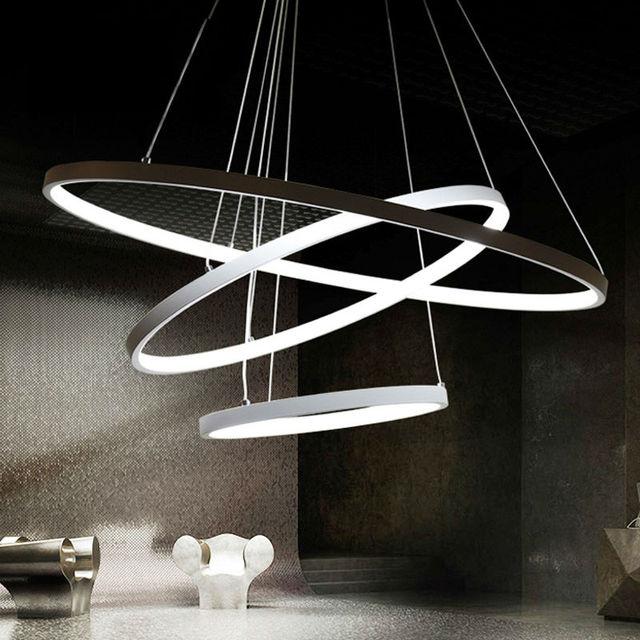 Led Foyer Lighting : Modern led pendant lights for foyer rings light aluminum