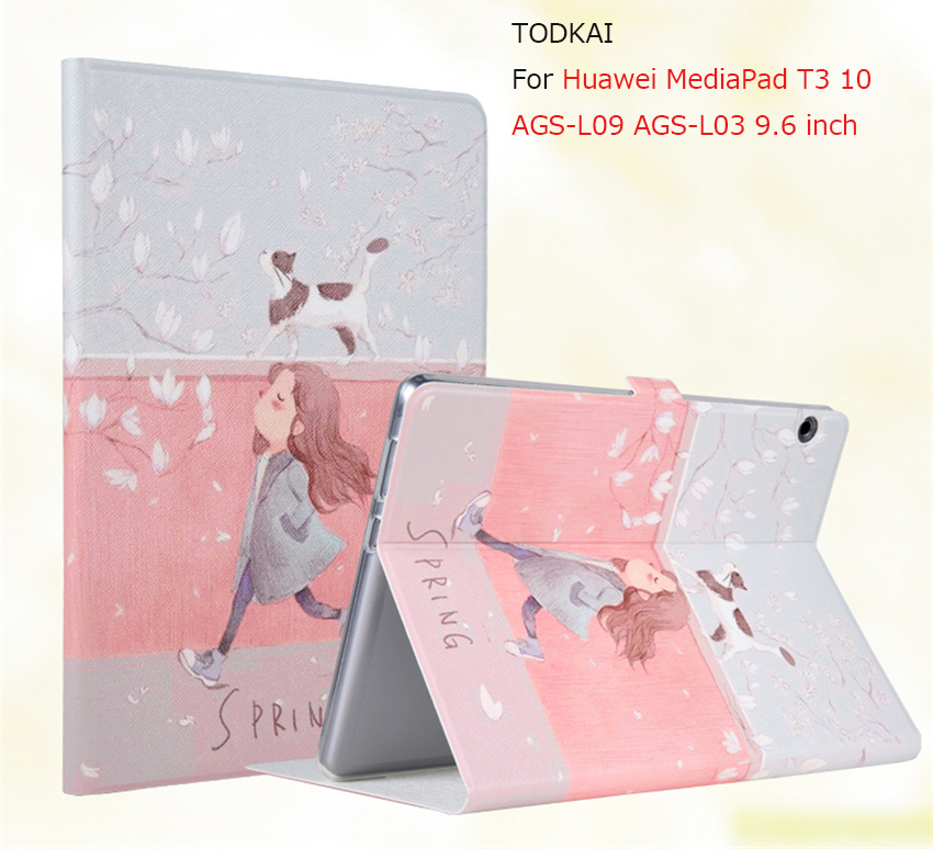 Fashion Cute Painted Flip PU Leather smart Case For Huawei MediaPad T3 10 AGS-L09 AGS-L03 9.6 inch Tablet Cover + film