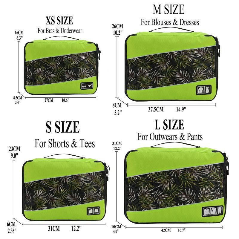 Soperwillton упаковочные кубики, нейлоновая дорожная сумка-Органайзер, Воздухопроницаемая сетчатая дорожная сумка для мужчин и женщин, органайзер для путешествий - Цвет: Green XS-S-M-L
