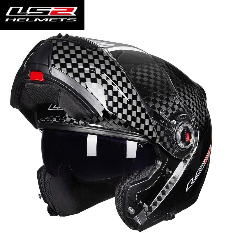 Original LS2 FF394 flip up motorcycle helmet 12K carbon fiber adult modular full face helmet with inner sunglasses helmets цена 2017