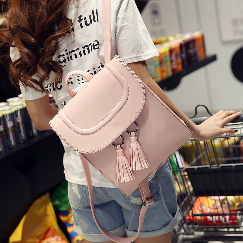 Hot Sale Women Fashion Casual Hard Solid Tassel Backpack Women PU Leather High Quality Schoolbag College