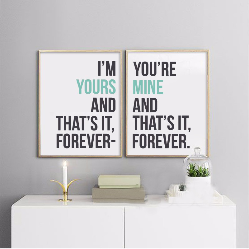 Love Quotes On Canvas Unique I'm Yours You're Mine That's Foever Quotes Canvas Print Painting
