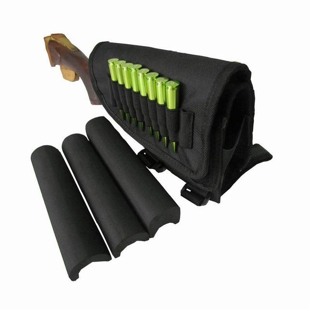 Tourbon Hunting Gun Accessories Tactical Left-Hand Shooting Butt Stock Rifle Cheek Rest Shell Pouch Safety Black Pad 1
