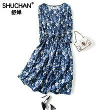 Shuchan Chinese Style Print Natural Silk Print Dress with 3/4 Sleeve O-Neck Knee-Length Loose Women Clothes Elegant Dress A0177 knee length print day dress