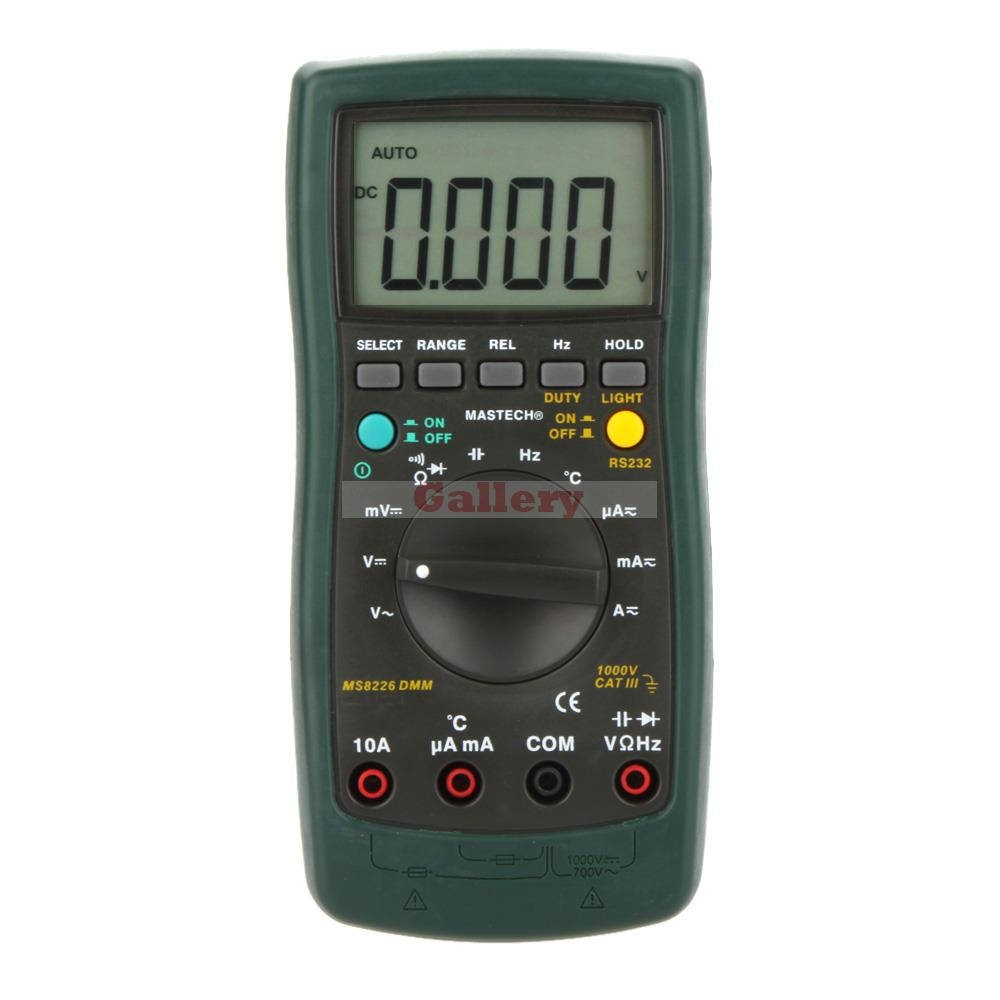 Ms8226 Handheld Rs232 Auto Range Lcd Digital Multimeter Dmm Capacitance Frequency Temperature Tester Meters digital multimeter mastech ms8264 dmm temperature capacitance tester multimeter handheld ammeter multitester