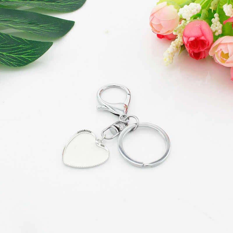 Tafree coração forma 25mm vidro pai da noiva/noivo encantos chaveiro chaveiro saco pingente irmã da noiva diy presente de casamento bw07