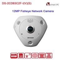 Hikvision 360 Original Oversea Version TVI Camera DS 2CD63C2F IVS 12MP Network Fisheye Camera IP66 H
