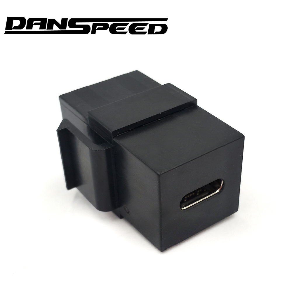 DANSPEED USB-C 3.1 Type-C Connector Keystone Insert Female To Female Wall Plate Blank Panel Black