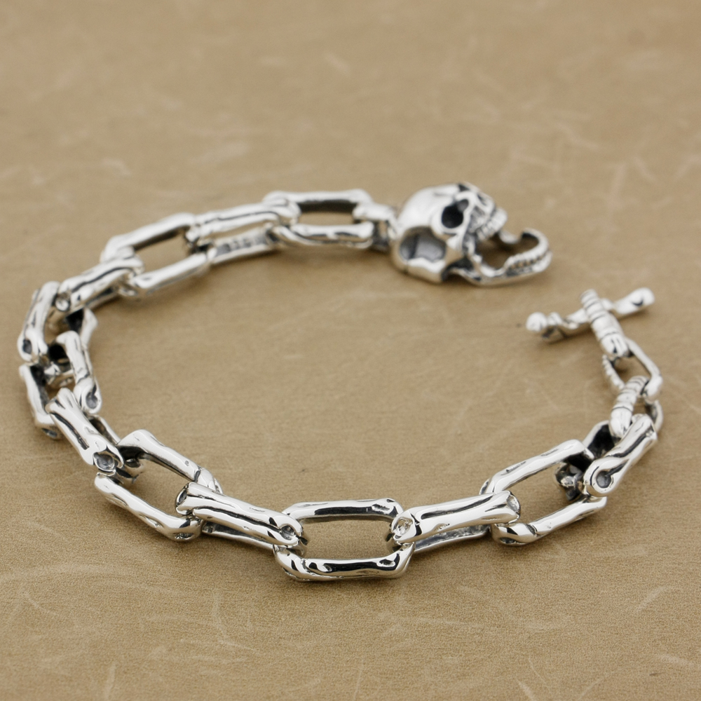 LINSION 5 Lengths 925 Sterling Silver Handmade Skull Bone Mens Biker Rocker Punk Bracelet 8W008