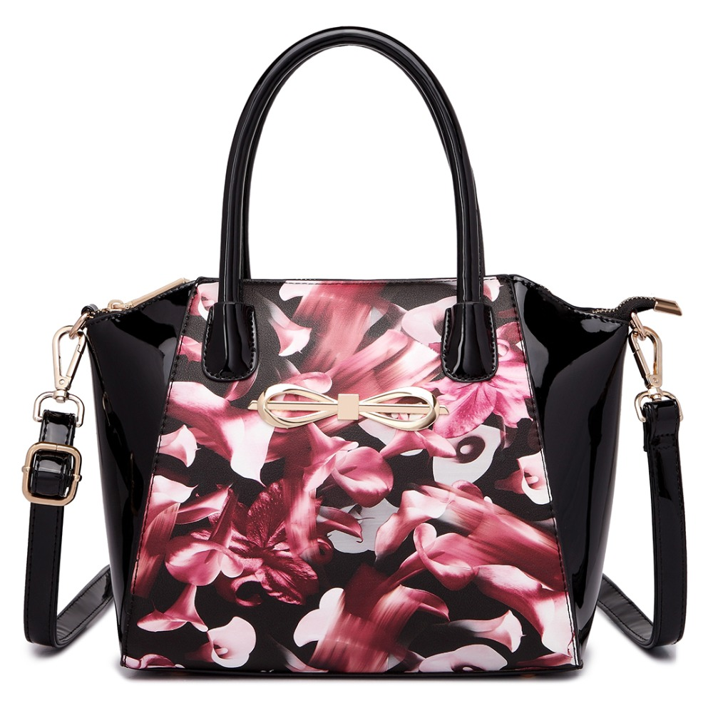 ФОТО New fashion  women girl Adorable and sleek structured   floral leather bow front shoulder handbag cross body bags totes bags