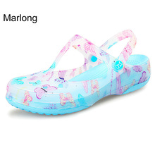 2017 New Style Thick Crocs Sandals Woman Anti-Skid Hole Candy Color Butterfly Pattern Beach Sandal Jelly Shoes Large Size