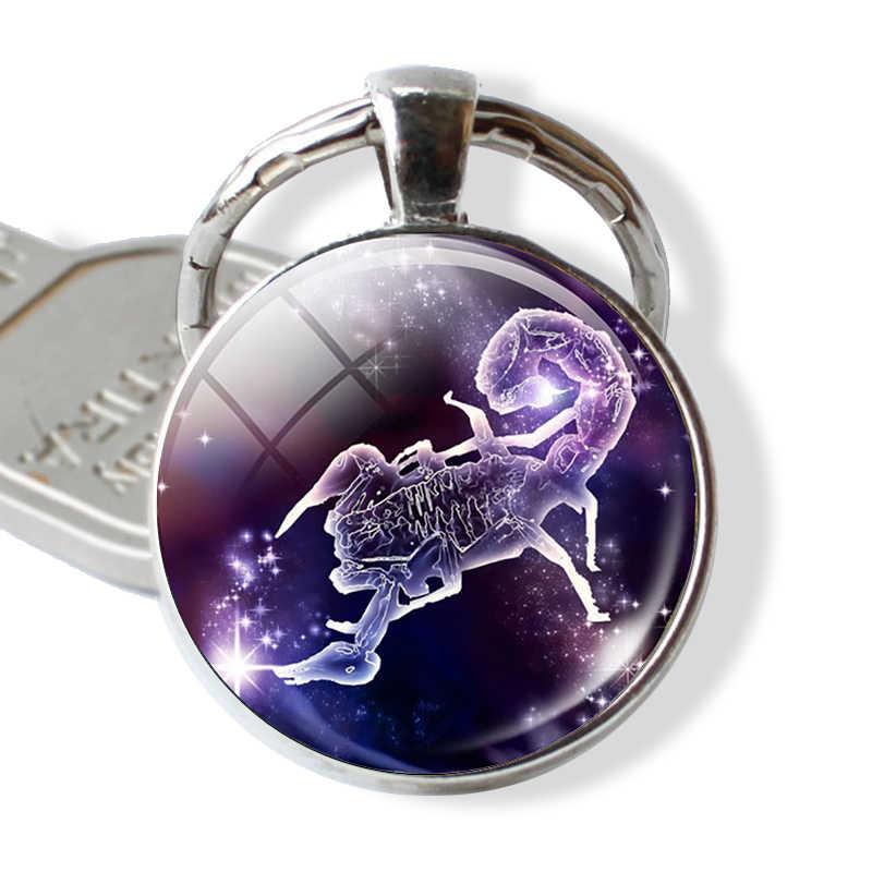 12 constelações Constelação Keychain Chave Anéis Chave Pingente Cadeia Jóias Libra Áries Signo do zodíaco Presente de Aniversário de Moda