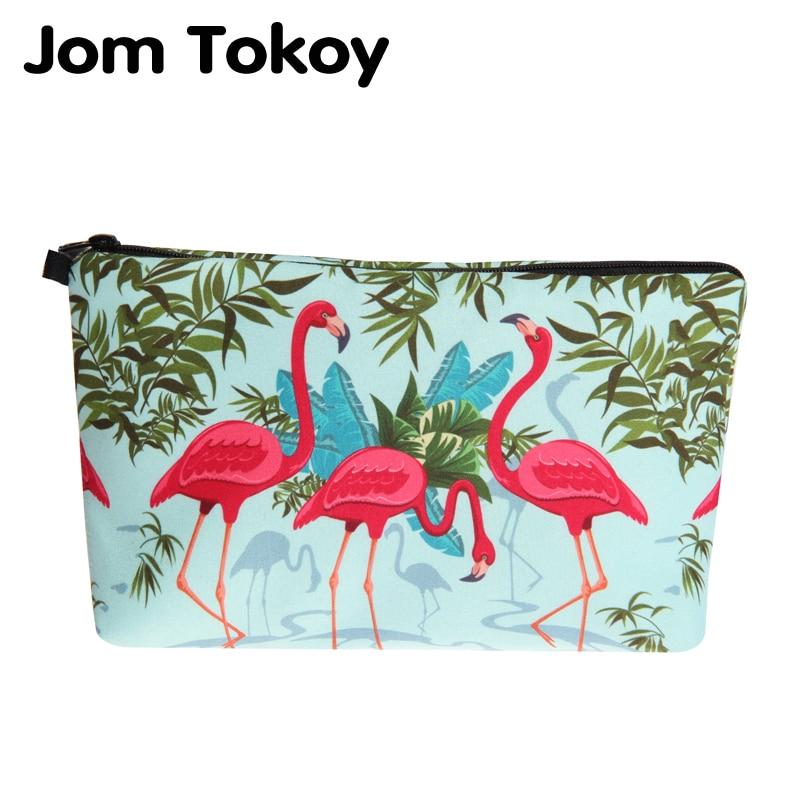 Jom Tokoy New Fashion Cosmetic Bag Fashion Women Brand Makeup Bag Heat Transfer Printing Flamingos Cosmetic Organizer Bags
