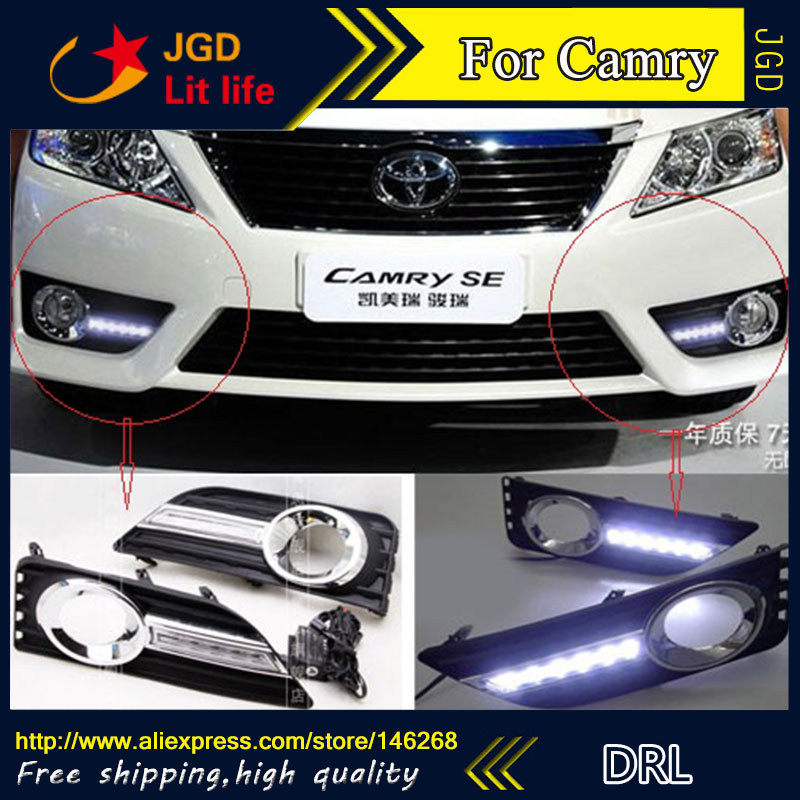Free shipping ! 12V 6000k LED DRL Daytime running light for Toyota Camry 2012 fog lamp frame Fog light Car styling hot sale 12v 6000k led drl daytime running light for toyota corolla 2007 2010 plating fog lamp frame fog light