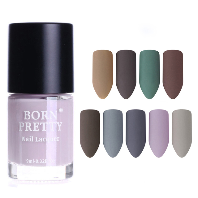 BORN PRETTY 9ml Matte Dull Nail Polish Gery Series Lacquer Varnish ...