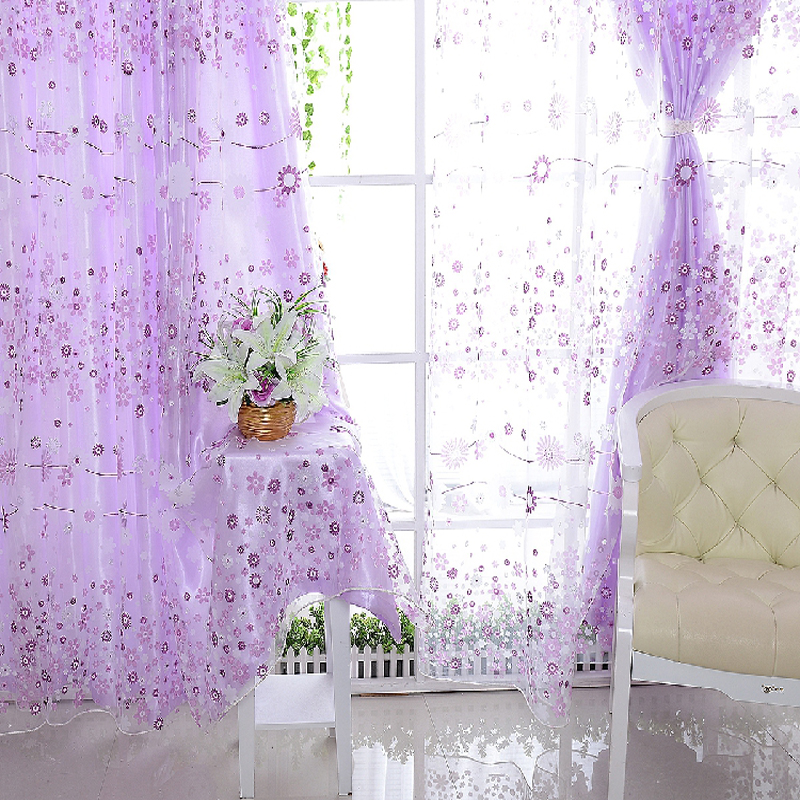 Aliexpress.com : Buy 300 Cm X 260 Cm Girls Purple Curtains For Bedroom Free  Shipping Floral Rustic Window Curtains For Living Room Organza Tulle From  ...