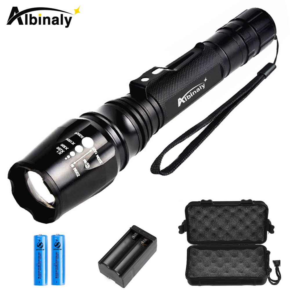 Ultra Bright LED flashlight CREE XML-T6/L2 Led flashlight torch 5 modes 8000 Lumens Zoomable torch +2x18650 battery + charger