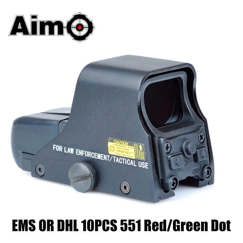 EMS OR DHL Tactical 551 Red Green Dot Sight 1x Holographic Reflex Scope Brigthness Adjustable Airsoft Hunting Riflescope A05017