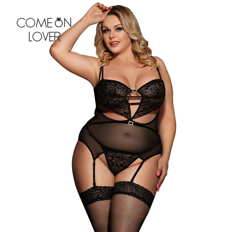 Comeonlover Sexy Dessous With Garter Big Size 5XL Halter Sexy Underwear Women Erotic Lingerie Sex Clothes For Women RI80426