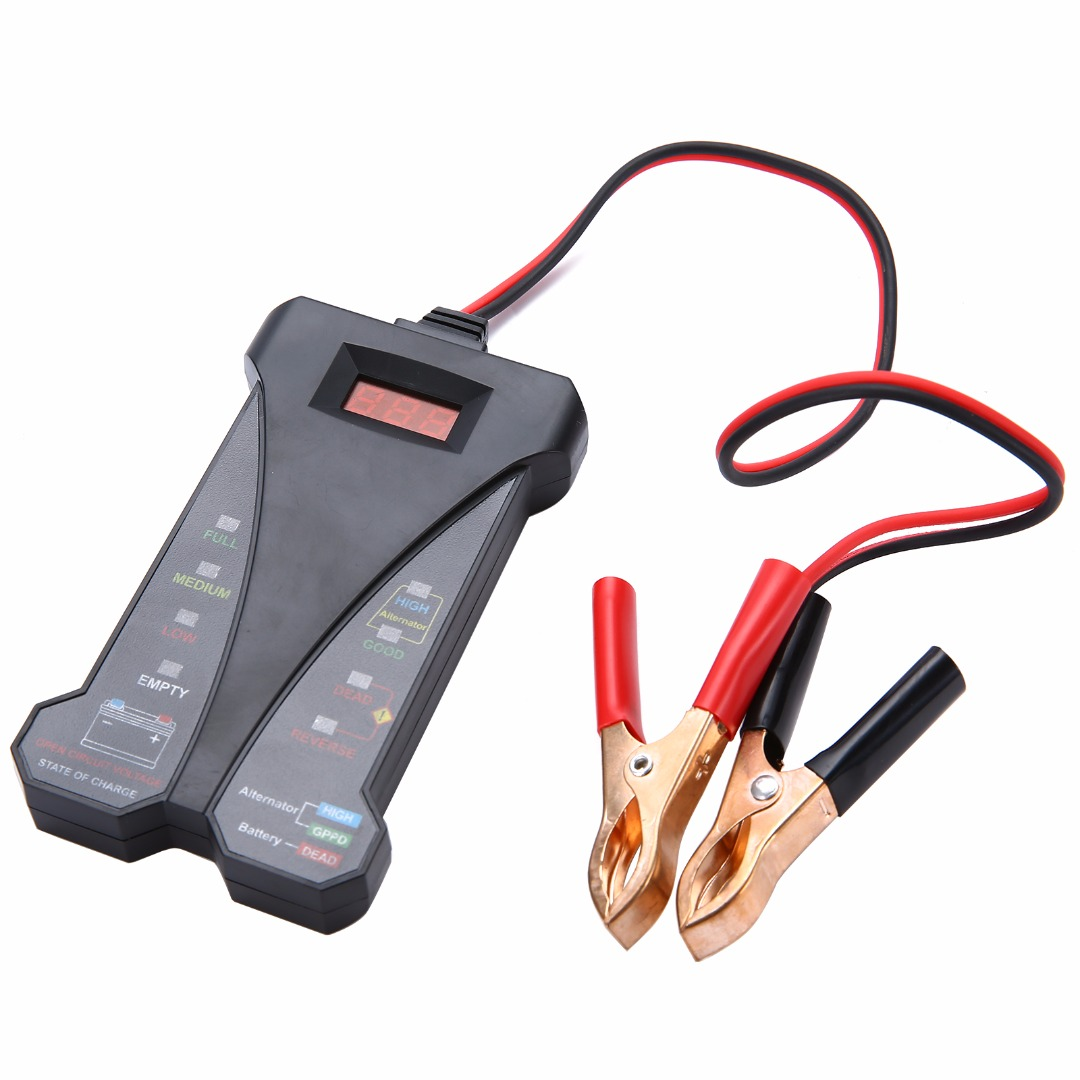 Hot Sale 12V Smart Car LED Display Digital Battery Tester Voltmeter Alternator Analyzer Auto Motorcycle Diagnostic Repair Tools hot sale digital car battery tester diagnostic tools micro 100 12v car capacity load tester analyzing