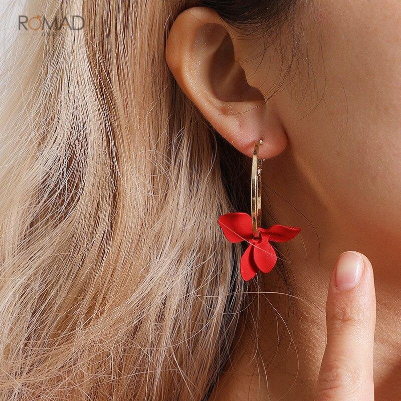 Romad Trendy Flower Dangle Earrings Women Golden Big Circle Asymmetrical Tassel For Drops Jewelry W3