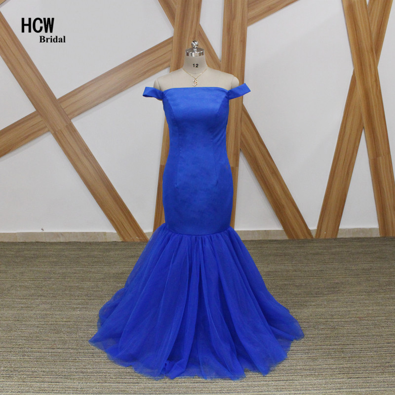Simple Mermaid   Evening     Dress   2019 Strapless Cap Sleeve Floor Length Tulle Long Formal   Evening   Gowns Cheap Wedding Party   Dresses