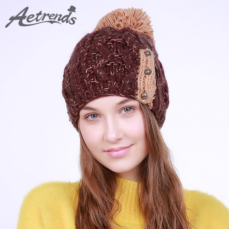 [AETRENDS] 2017 Winter Beanie Hats for Women Warm Knitted Female Caps Beanies Pompom with Top Ball Z-6015 2016 new beautiful colorful ball warm winter beanies women caps casual sweet knitted hats for women outdoor travel free shipping