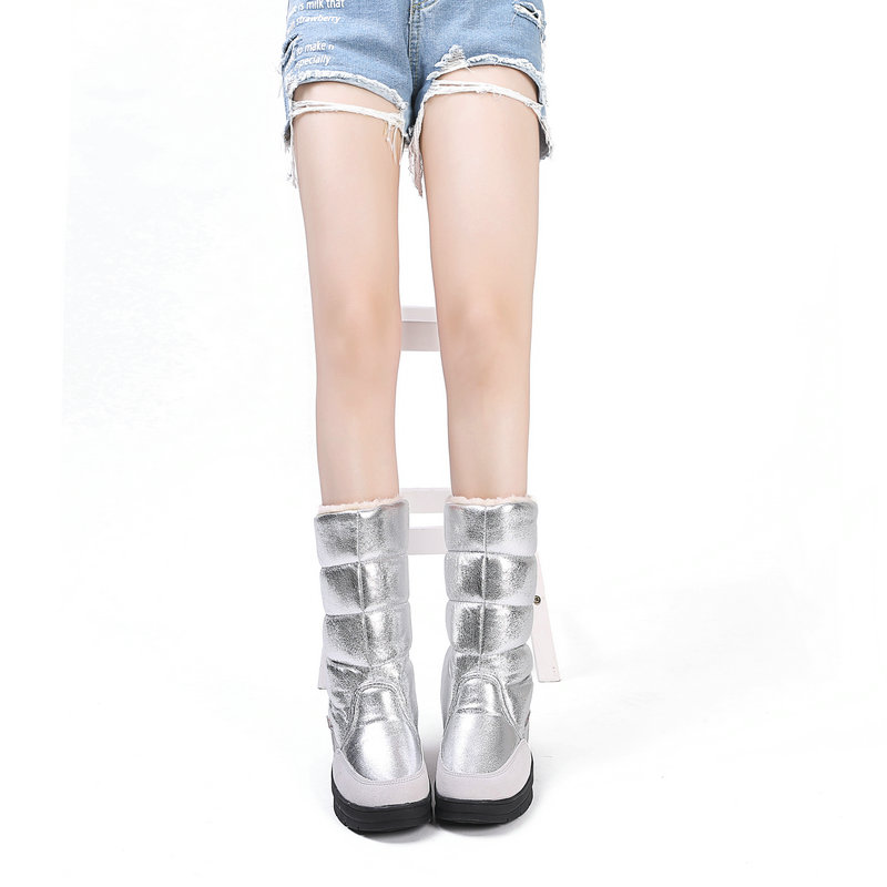 Image 5 - High Boots women winter shoes female style silver fashion colour full big size warm plush antiskid flat outsole Straight upper-in Knee-High Boots from Shoes